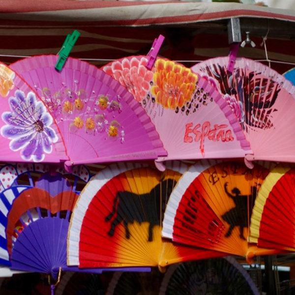 Fans at a flea market in Madrid